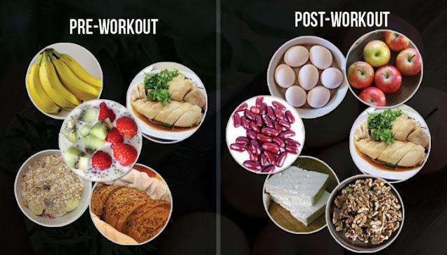 وجبة قبل وبعد التمرين
