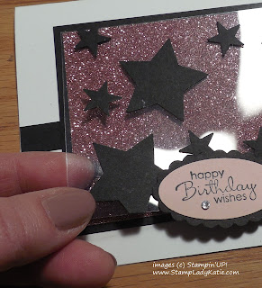 Star Card made with Stampin'UP!'s Blushing Bride Glimmer Paper and acetate Window Sheets