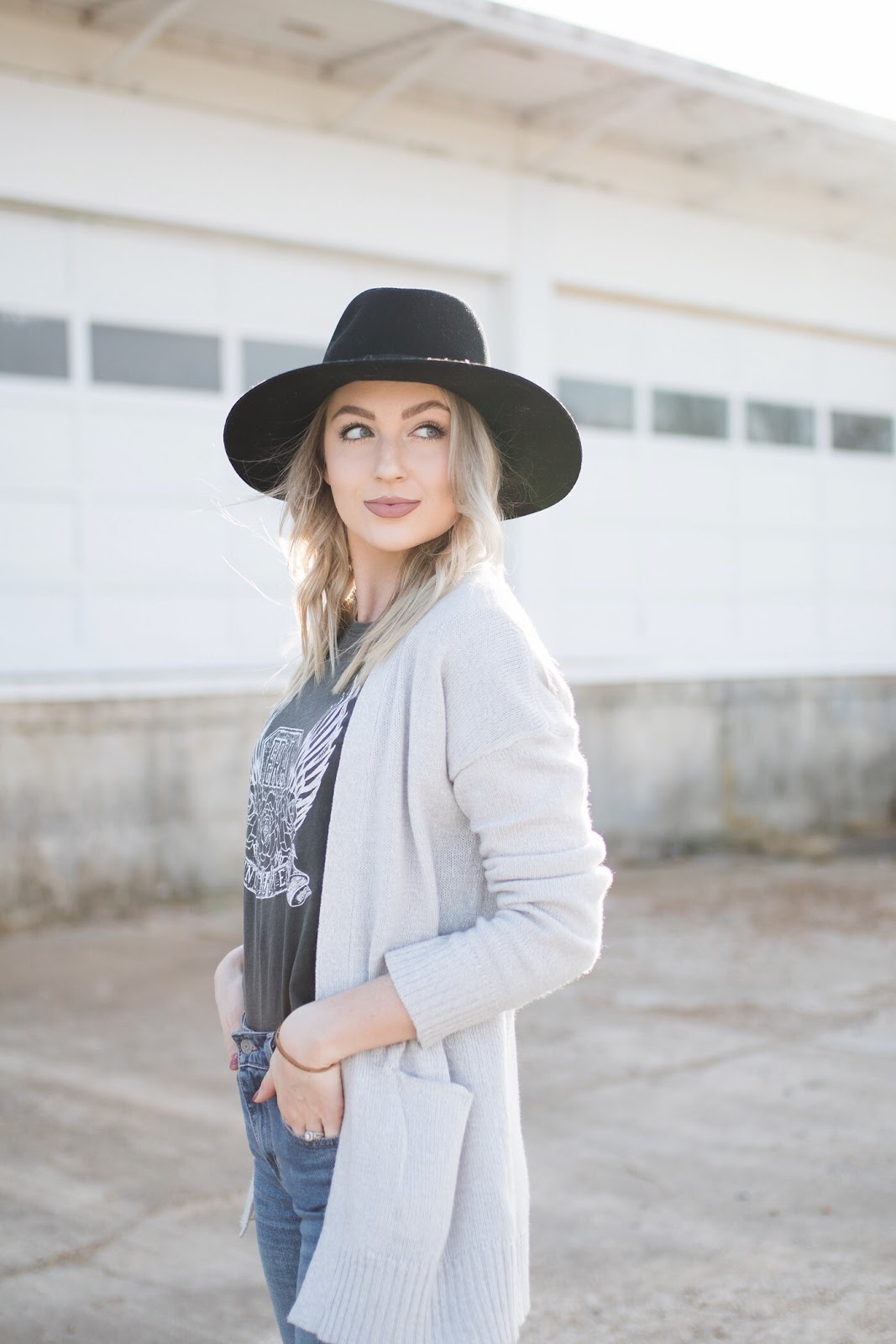 Cardigan, graphic tee, wide brim hat