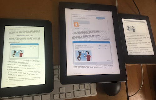 e-readers and digital text - Kindle Fire, iPad and Kindle paperwhite