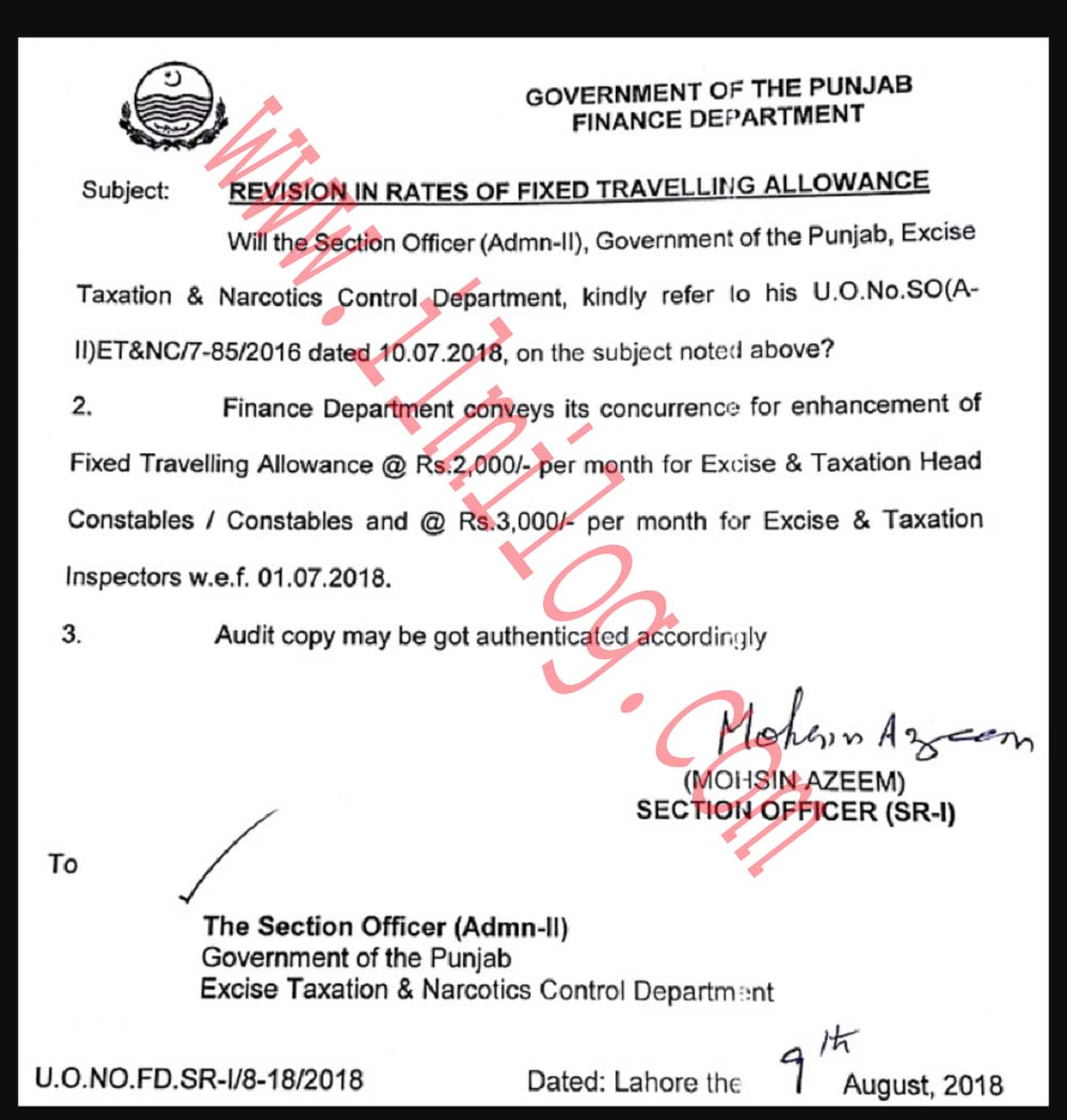 Excise and Taxation Punjab Constables Fixed Revised Daily
