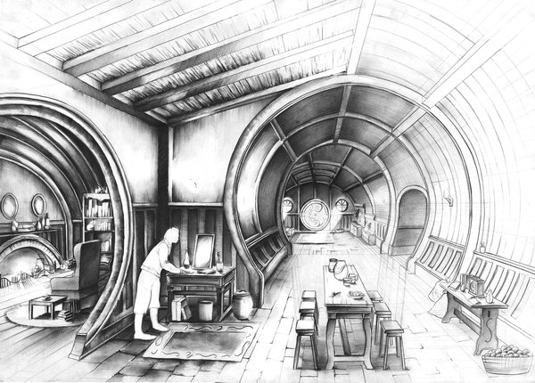 03-Bag-End-Bilbo-Baggins-LOTR-Marlena-Kostrzewska-Interior-Design-and-Architecture-in-Pencil-Drawings-www-designstack-co
