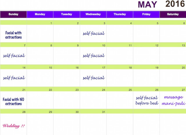 Monthly Pre-Wedding Adult Acne Facial Schedule.