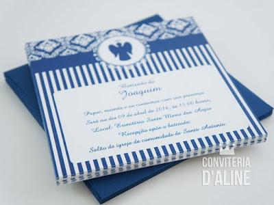 batizado convite azul provençal