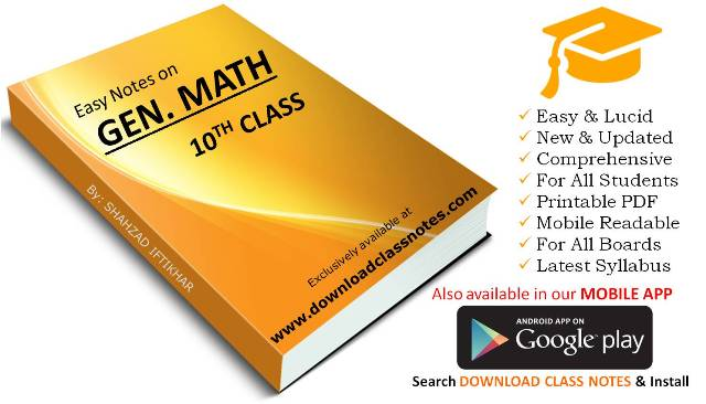 General Mathematics Notes for 10th Class for FBISE Islamabad & Punjab Boards