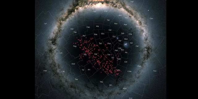 Night sky centered on the south Galactic pole in a so-called stereographic projection. In this special projection, the Milky Way curves around the entire image in an arc. The stars in the stream are displayed in red and cover almost the entire southern Galactic hemisphere, thereby crossing many well-known constellations. Background image: Gaia DR2 skymap.