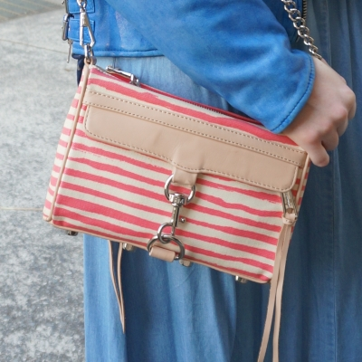 chambray maxi skirt, Rebecca Minkoff striped coated canvas mini MAC in berry stripe | AwayFromTheBlue
