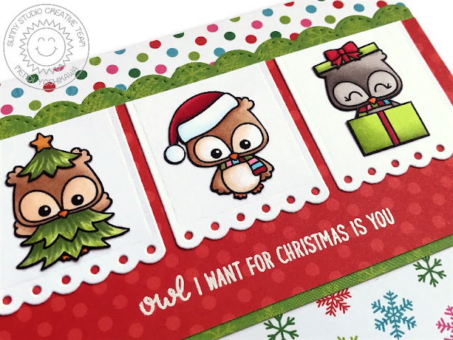 Sunny Studio Stamps: Happy Owlidays Owl I Want For Christmas is You holiday card by Mendi Yoshikawa