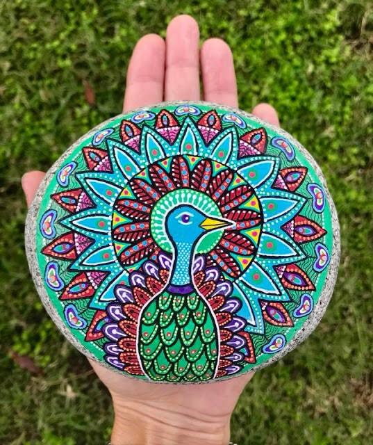 peacock mandala rock painting idea