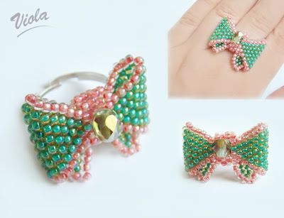 pierścionek z koralików