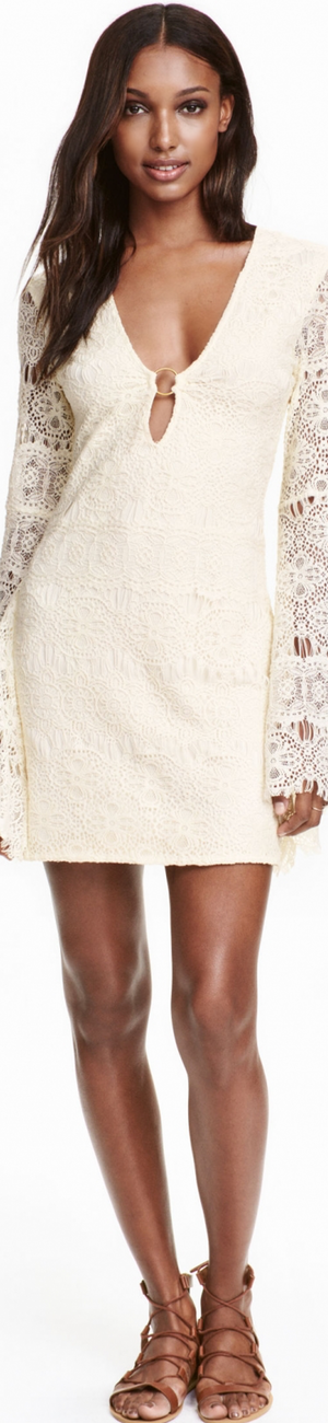 H&M Lace Dress in Natural White