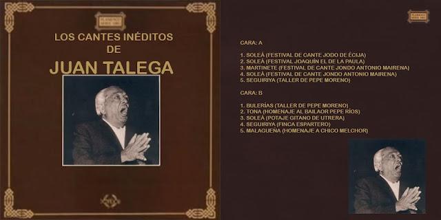 """""""LOS CANTES INÉDITOS DE JUAN TALEGA"""" (LP) SENADOR 1991"""