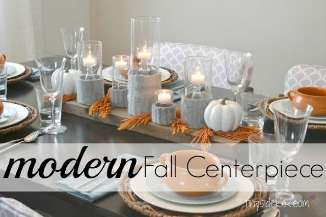 modern fall centerpiece sweater candle holders