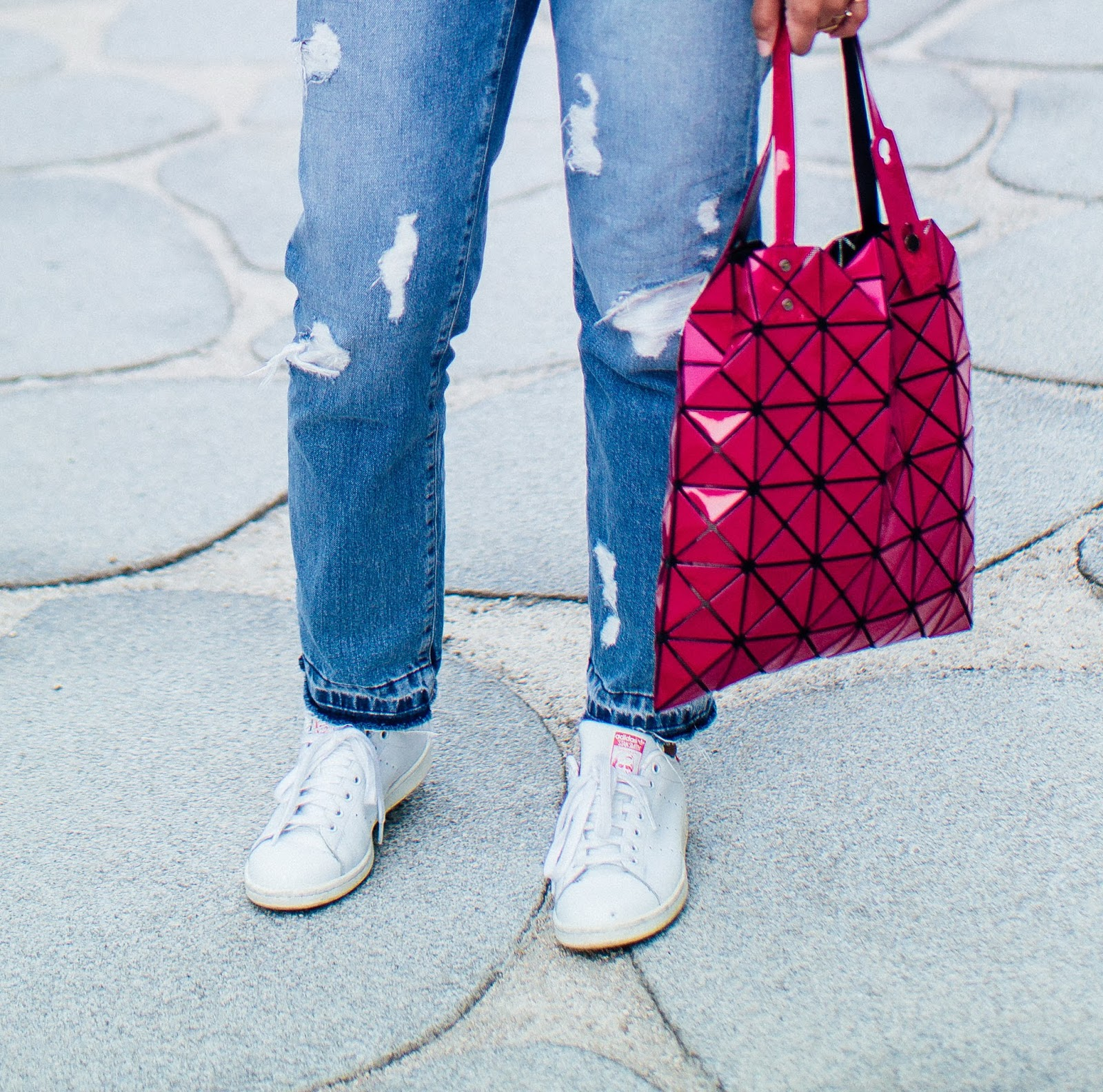 Zara Ripped Boyfriend Jeans Issey Miyake Bao Bao