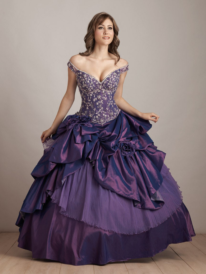 Dramatic Purple Quinceanera Wedding Ball Gowns