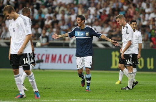 Ángel di María celebrates after scoring Argentina's third goal against Germany