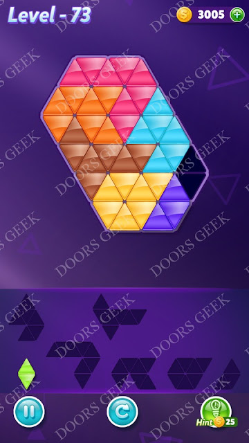 Block! Triangle Puzzle Advanced Level 73 Solution, Cheats, Walkthrough for Android, iPhone, iPad and iPod