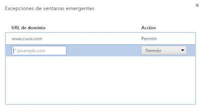 Excepciones de ventanas emergentes en Google Chrome