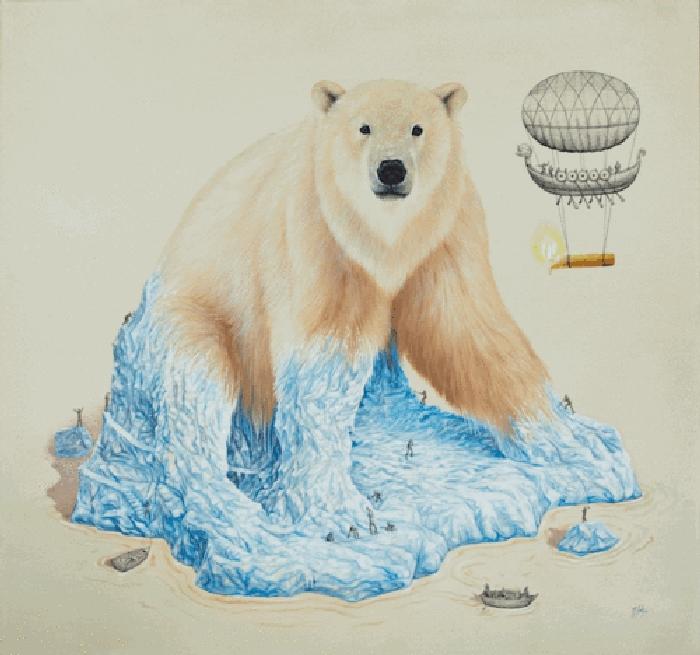 06-Polar-Bear-Ricardo-Solis-Surreal-Illustrations-of-Animals-in-Mid-Construction-www-designstack-co