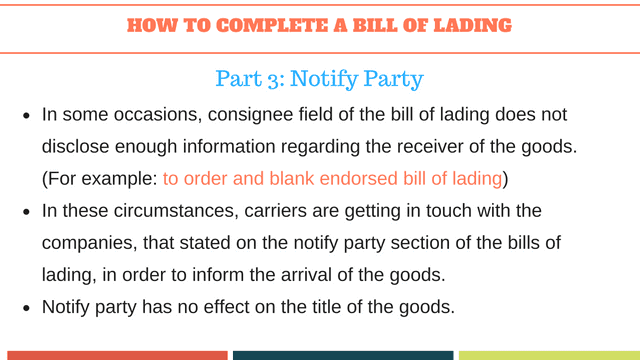 How to complete a bill of lading | Notify Party