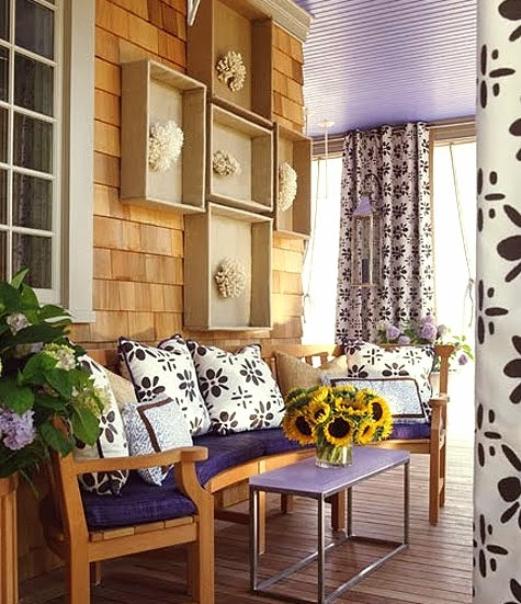 purple porch with coastal decor