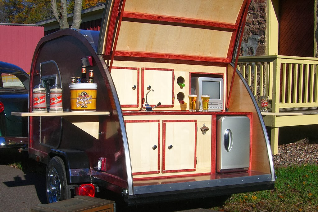 A Teardrop Can Have The Same Amenities Without Taking Up Two Or Three Parking Spots If Weather Is Nice You Open Galley And Set Bar