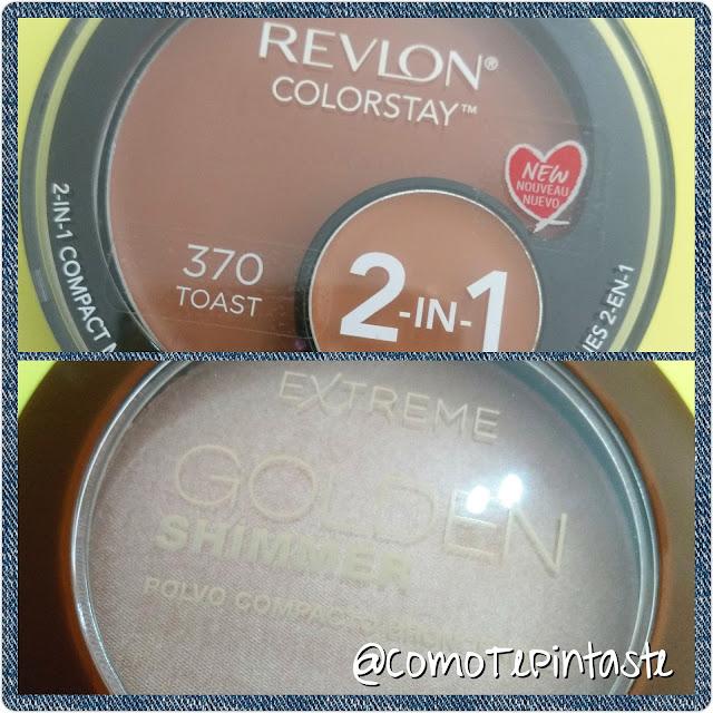 revlon colorstay base, iluminador farmacity golden shimmer