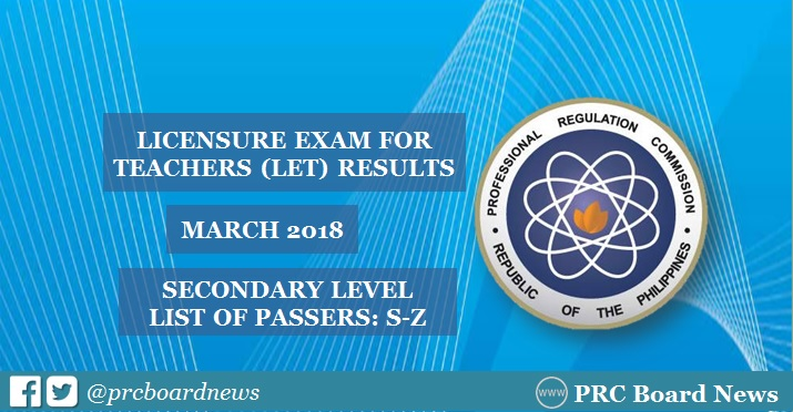 PRC releases March 2018 LET board exam results