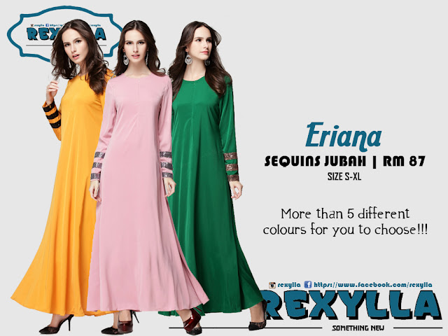 rexylla, sequins jubah, sequins stripe, eriana collection