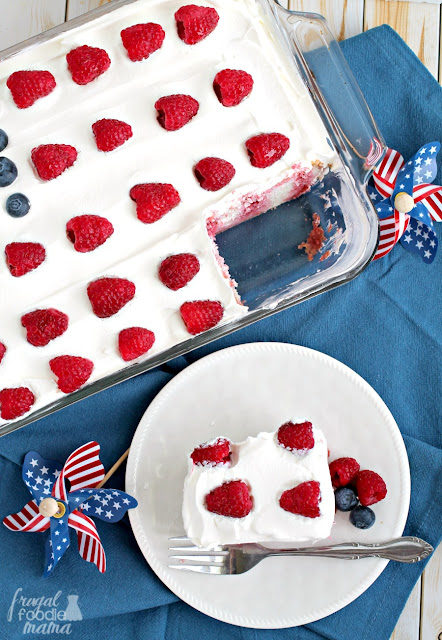 Incorporating the flavors of black cherry, fresh raspberries and blueberries, this easy-to-make Berry Patriotic Poke Cake is the perfect addition to your summer celebration.