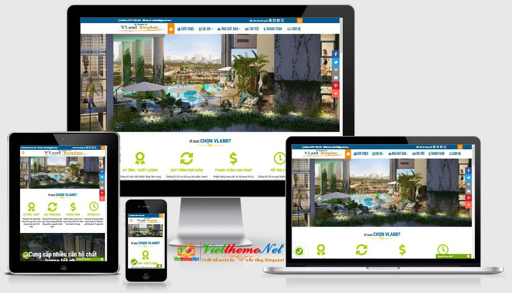 VLand Template Blogspot Bất động sản với nhiều nhiệu ứng đẹp, chuyên nghiệp
