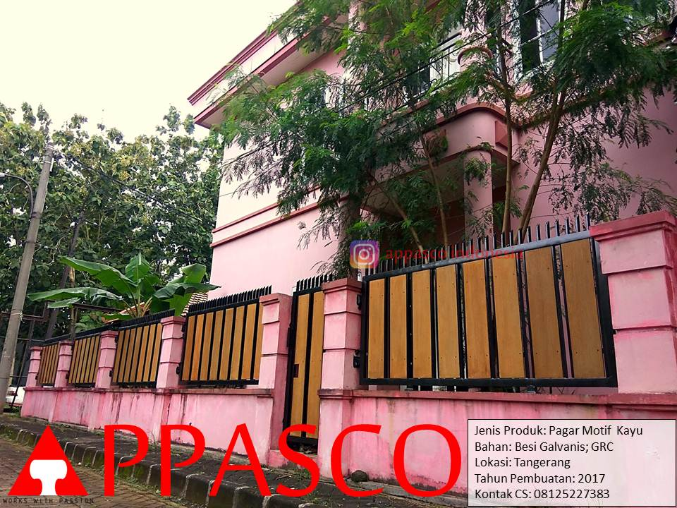 Pagar Besi Minimalis Motif Kayu GRC di Tangerang