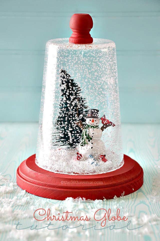 bola de nieve diy en una campana de cristal