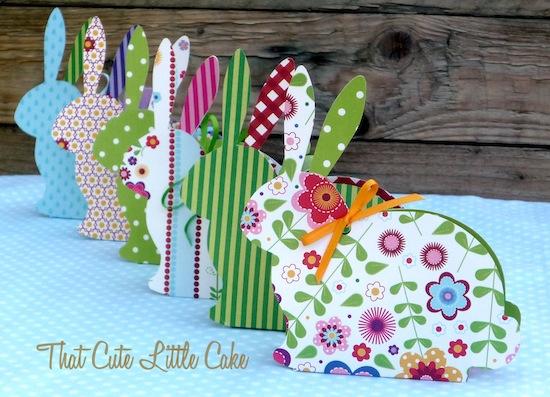 That cute little cake easter craft bunny treat boxes diy - Decoration de paques facile ...