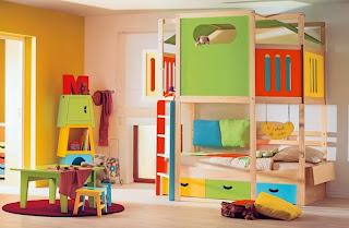 Diseño de dormitorio colorido