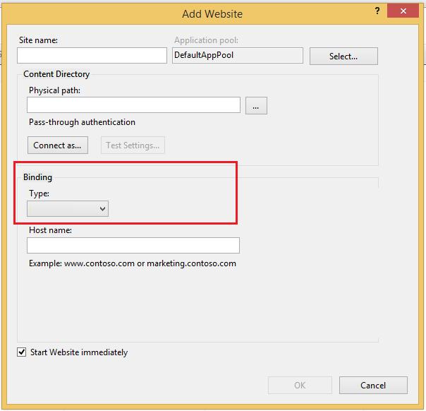 Empty Or Missing Binding Type In IIS 8 In Windows 8