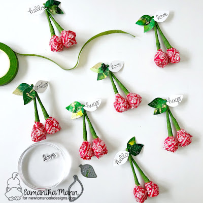 Cherry Valentine Treats by Samantha Mann for Newton's Nook Designs, Valentine's Day, die cutting, die cuts, floral tape, alcohol inks, kids crafts #newtonsnook #valentines #diycrafts #kidscraft #cherries