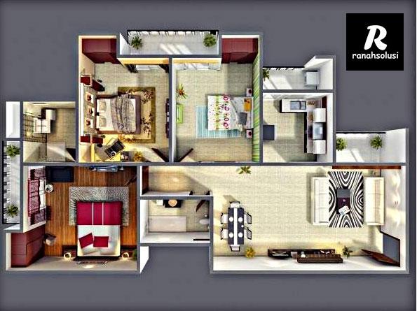 Model Denah Rumah Minimalis 3 Kamar Terbaru 2019
