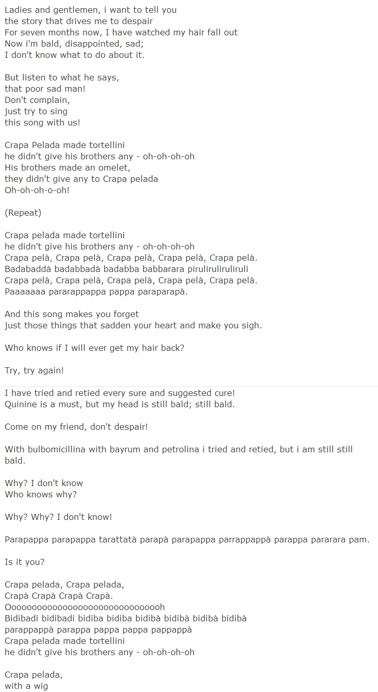 crapa pelada lyrics translation