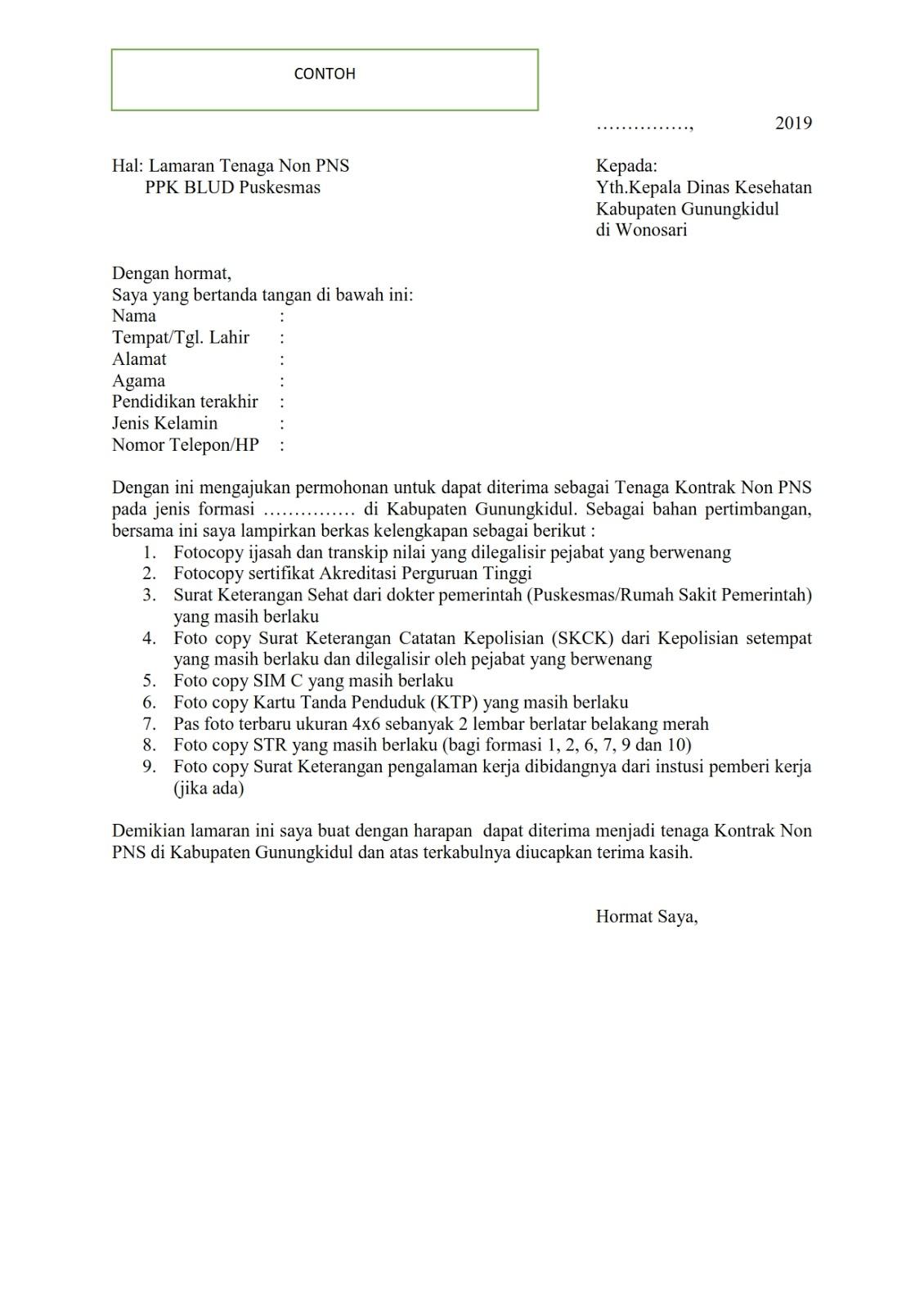 Penerimaan Pegawai Kontrak Non Pns Dinas Kesehatan Kabupaten