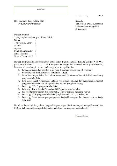 Penerimaan Pegawai Kontrak Non PNS Dinas Kesehatan Kabupaten Gunungkidul Tahun 2019