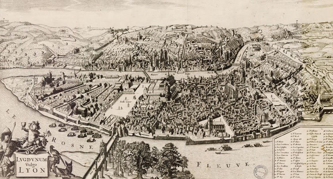plan scénographique lyon XVIIe siècle - visite guidée de Lyon - Nicolas Bruno Jacquet