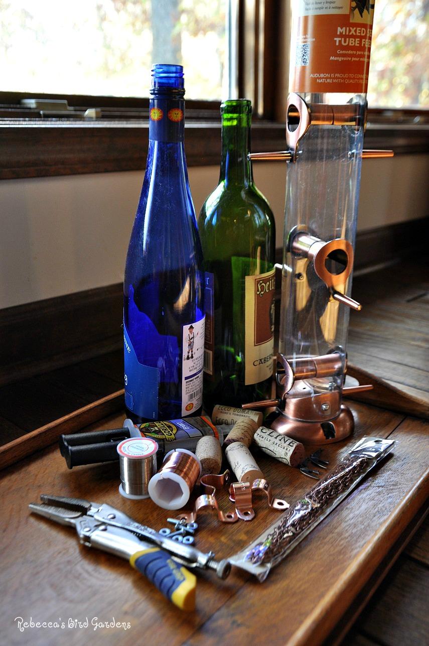 Rebecca's Bird Gardens Blog: DIY Wine Bottle Bird Feeders