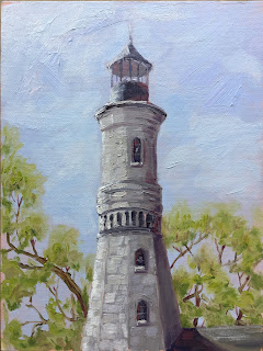 lighthouse painting, Fort Niagara, old lighthouse
