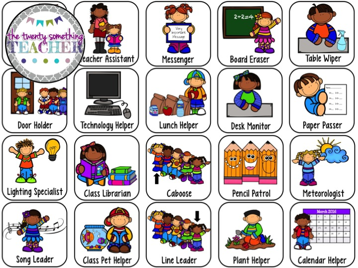 kindergarten clipart classroom jobs - photo #48