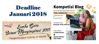 Daftar Lomba Menulis Deadline Januari 2018