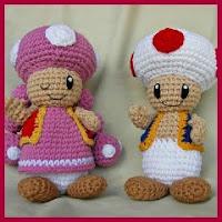 Toad y Toadette amigurumi