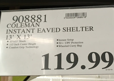 Deal for the Coleman Instant Eaved Shelter at Costco