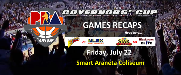 List of PBA Games Friday July 22, 2016 @ Smart Araneta Coliseum