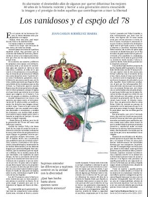 Los vanidosos y el espejo del 78. Juan Carlos Rodríguez Ibarra. El País